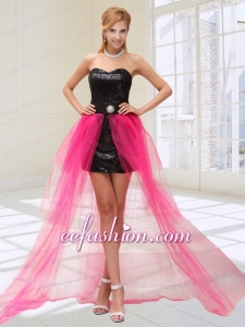 Lovely Hot Pink and Black High Low Celebrity Dress with Beading and Sequins