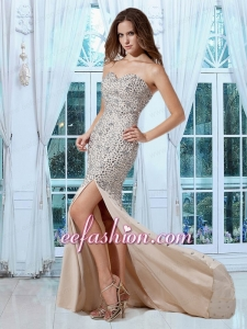 Luxurious Mermaid Champagne Sweetheart Prom Dress with Rhinestone