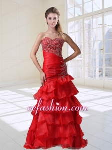 Mermaid Red Party Sexy Beaded Sweetheart Organza Floor-length Prom Dress with Ruffles