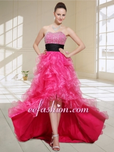 Natural High Low Sweetheart Beading and Ruffles Prom Dress in Hot Pink