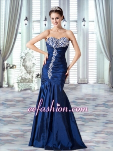 Taffeta Navy Blue Sweetheart Mermaid Prom Dress with Ruching and Beading