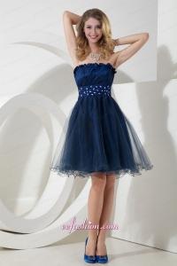 2015 Charming Navy Blue Princess Strapless Organza Beading Prom Dress