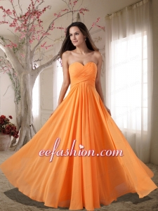Affordable Sweetheart Ruching Empire Prom Dress in Orange