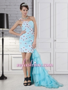 Aqua Blue Column One Shoulder High Low Beading Prom Dress