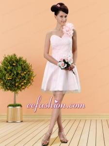 Baby Pink One Shoulder Tulle A Line Prom Dress with Zipper