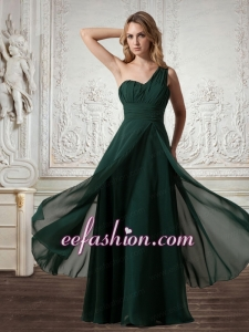 Cheap Chiffon One Shoulder Dark Green Prom Dress with Zipper