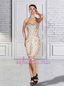 Column Sweetheart Short Sequin and Beading Prom Dress in Champagne