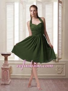 Dark Green Halter Top Chiffon Sleeveless Prom Dress with Ruching