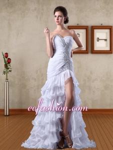 Fashionable Chiffon Column Beading Sweetheart Prom Dress with Brush Train
