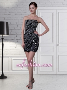 Formal Black Column Strapless Prom Dress with Sequins and Beading