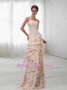 Modest Chiffon Champagne Strapless Layered Ruffles Prom Dress with Brush Train