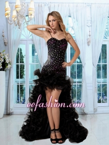 Noble High Low Straps Black Prom Dress with Beading and Ruching
