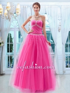 Pretty Tulle Princess Beading Sweetheart Prom Dress in Hot Pink