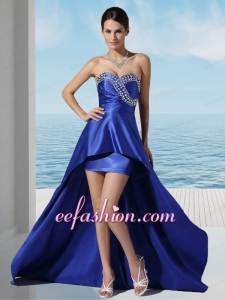 Royal Blue High Low Sweetheart Gorgeous Prom Dress with Beading