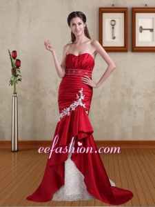 Sexy Mermaid Appliques and Beading Brush Train Red Prom Dress