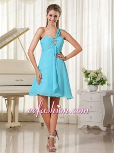 Simple One Shoulder Beaded and Ruching Chiffon Prom Dress