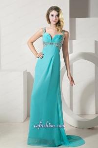 Turquoise Column Straps Brush Train Chiffon Beading Prom Dress