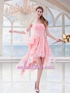 Watermelon Red Empire Chiffon Strapless Asymmetrical Prom Dress