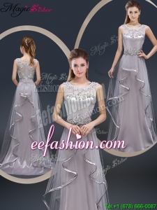 Exquisite Brush Train Scoop Prom Dresses with Appliques for 2016