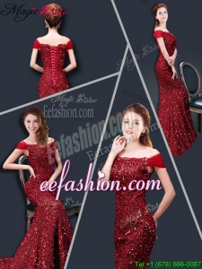 Winter Mermaid Off the Shoulder Sequins Prom Dresses in Wine Red