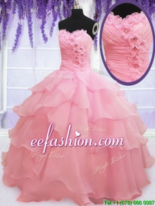2017 Cute Organza Baby Pink Quinceanera Dress with Appliques and Ruffled Layers
