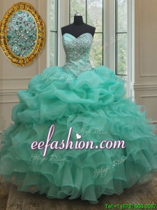 2017 Lovely Big Puffy Beaded and Bubble Quinceanera Dress in Turquoise