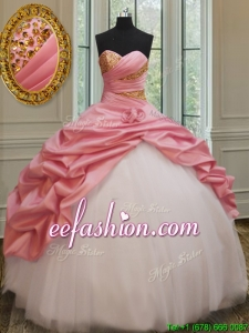 2017 Perfect Beaded and Bubble Watermelon and White Quinceanera Dress in Taffeta and Tulle