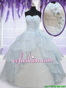 2017 Pretty Light Blue Organza Quinceanera Dress with Appliques and Ruffled Layers