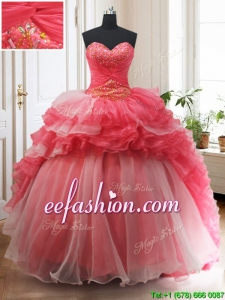 Brush Train Red and White Quinceanera Dress with Beading and Ruffled Layers