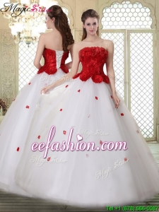 2016 A Line Strapless Quinceanera Dresses with Ruffles