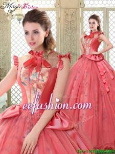 2016 Classical High Neck Cap Sleeves Quinceanera Gowns with Bowknot
