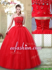2016 Inexpensive Strapless Quinceanera Dresses with Hand Made Flowers