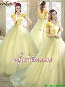 2016 New Arrivals Bateau Brush Train Quinceanera Dresses