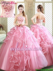 Lovely Strapless 2016 Prom Dresses with Appliques and Ruffles