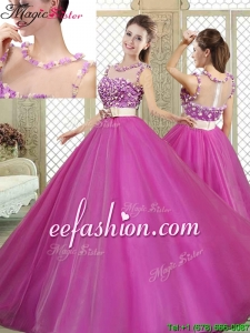 Modern Scoop 2016 Quinceanera Dresses with Belt and Appliques