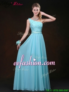 Elegant Empire One Shoulder Prom Dresses with Appliques