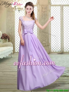 Elegant Square Cap Sleeves Lavender Prom Dresses with Belt