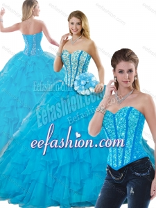 2016 Beautiful Beading Detachable Quinceanera Dresses in Aqua Blue