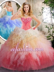 2016 Beautiful Beading and Ruffles Quinceanera Gowns in Multi Color