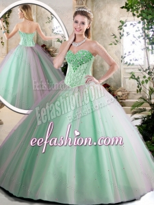 2016 Cheap Beading Quinceanera Dresses in Apple Green