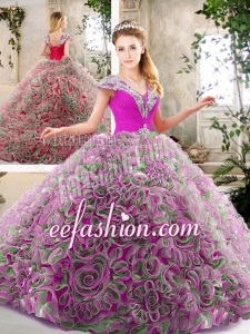 2016 Exquisite Beading and Ruffles Quinceanera Gowns in Multi Color