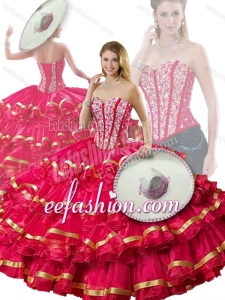 2016 Fashionable Beading and Ruffled Layers Red Detachable Quinceanera Dresses