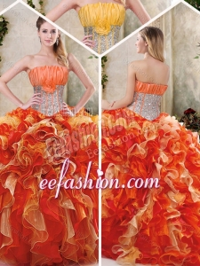 2016 Gorgeous Multi Color Quinceanera Gowns with Sequins and Ruffles