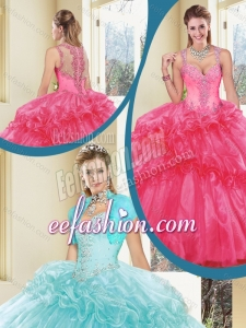 2016 Gorgeous Straps Beading Quinceanera Dresses with Ruffles