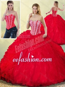 2016 Latest Sweetheart Beading Quinceanera Dresses with Ruffles