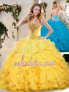 2016 Modern Sweetheart Quinceanera Dresses with Beading and Ruffles