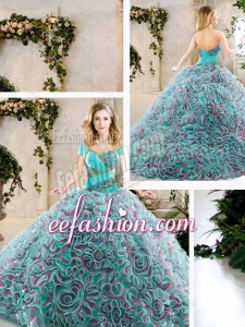 2016 Modest Brush Train Quinceanera Gowns with Beading and Ruffles