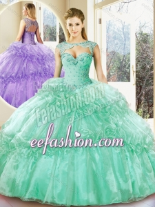 2016 Popular Turquoise Sweetheart Quinceanera Dresses with Beading