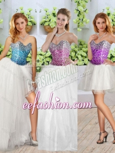 Fashionable White Detachable Quinceanera Dresses with Sequins and High Slit