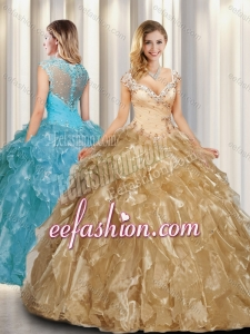 2016 Beautiful A Line Cap Sleeves Champagne Quinceanera Dresses with Beading